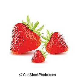 vector, rijp, strawberries., rood