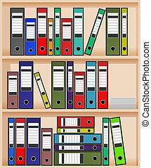 office shelf - vector ring binders in office shelf, eps10 ...