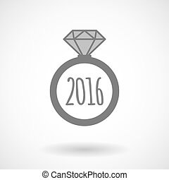 Vector ring icon with a 2016 sign