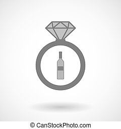 Vector ring icon with a bottle of wine
