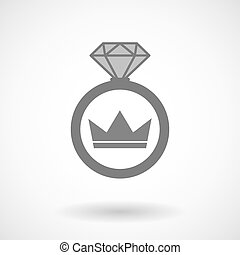 Vector ring icon with a crown