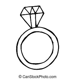 Vector ring with big diamond, doodle object