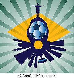 vector Rio skyline with football pl