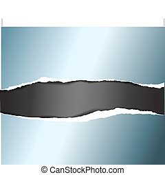 Vector ripped blue metal paper