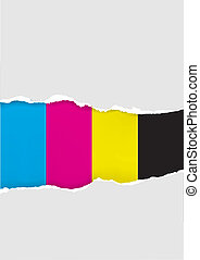 Vector Ripped Cmyk Colors Paper