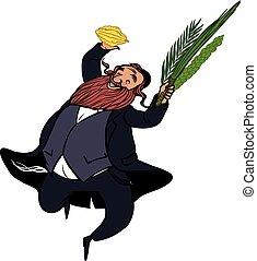 vector, ritual, sukkot., wiht, bailando, divertido, caricatura, hombre, judío, plantas, ilustración