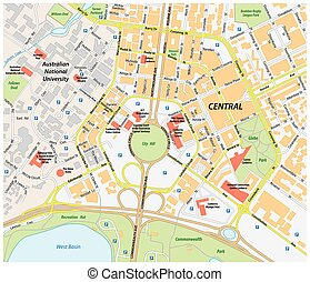 Detailed vector map of australia and capital city canberra vectors