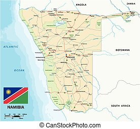 vector road map of Namibia with flag