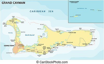 Vector road map of the Caribbean island of Grand Cayman