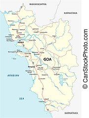 Vector road map of the Indian state of Goa