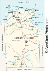 Vector road map of the Northern Territory, Australia