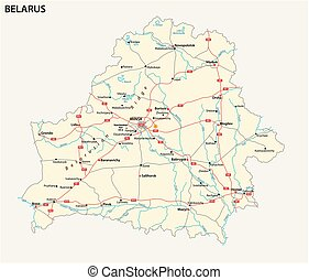 vector road map of the Republic of Belarus