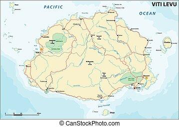 vector road map of Viti Levu, Republic of Fiji