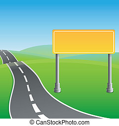 Vector road sign and green landscape