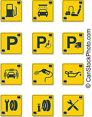 Vector roadside services signs ic.1 - Set of the roadside ...