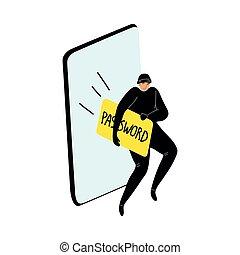 vector, robar, hackers, billetera., caricatura, style., cyber, plano, ilustración, smartphone, contraseña, user's