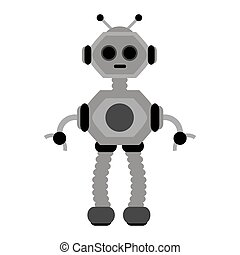 Vector robot icon in flat style isolated on white background