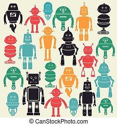 vector, robot, illustratie, ontwerp