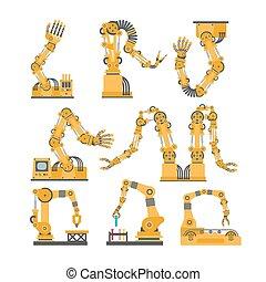 vector, robot, robótico, hands., iconos, conjunto, set., brazos