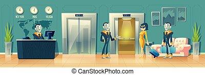 vector, robot, servicio, recepción del hotel, moderno
