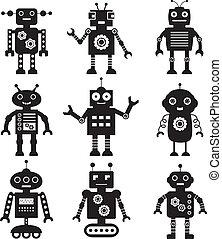 vector, robot, siluetas, conjunto