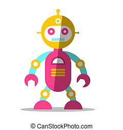 Vector Robot Symbol. Flat Design Icon Isolated on White Background.