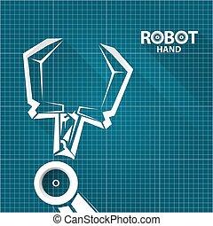 vector robotic arm symbol on blueprint paper background. robot hand. technology background design