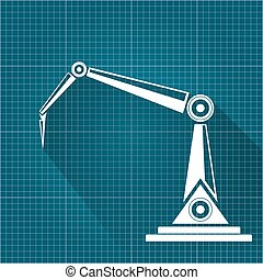 vector robotic arm symbol on blueprint paper background. robot hand. technology background design