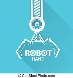 vector robotic arm symbol. robot hand. - Clean technology...