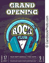 Vector rock music club, music shop with headphones