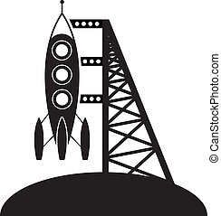 vector rocket and launching pad symbol