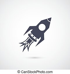 Vector rocket icon isolated on background