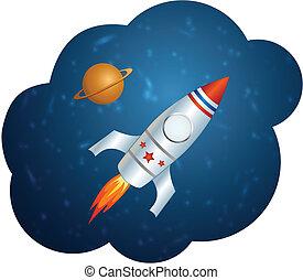 Vector rocket in space