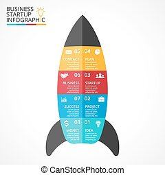 Vector rocket infographic, diagram chart, graph presentation. Business startup concept with 8 options, parts, steps, processes.