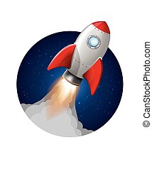 Vector rocket launch take off. startup - Cartoon rocket...