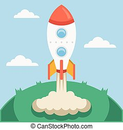 Vector rocket launch vector illustration