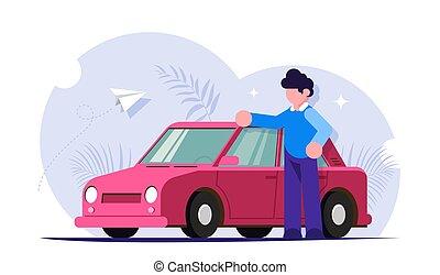 vector, rojo, concept., automovilista, o, gente, moderno, feliz, servicio, illustration., luego, plano, compra, el suyo, coche., cars., estantes