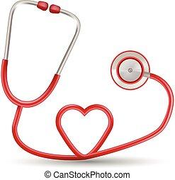 vector, rojo, estetoscopio, en forma, de, corazón, aislado, en, un, blanco, fondo., realista, vector, illustration.