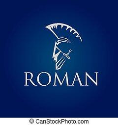 vector, romano, viejo, antigüedades, plantilla, guerrero, diseño, vendimia