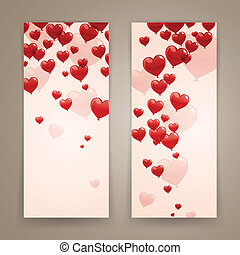Vector Illustration of Romantic Banners with Heart Balloons