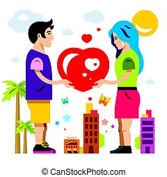 Vector Romantic Couple. Give Love. Valentines Day. Flat...
