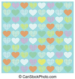 Vector Romantic pattern with Yellow orange green blue pink hearts Bright background in vintage style for your design on blue background