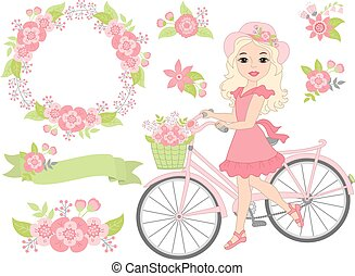 Vector Romantic Set with Beautiful Girl, Bicycle and Pink Flowers