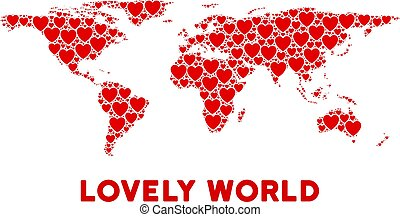 Vector Romantic World Map Composition of Hearts