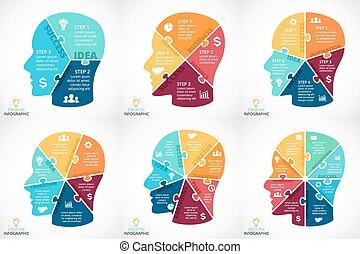 vector, rompecabezas, cara humana, infographic., ciclo,...