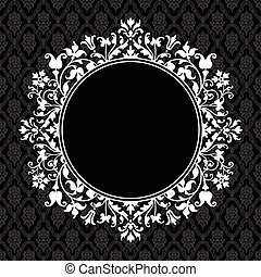 vector, ronde, floral, frame