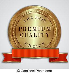 vector, ronde, gouden, badge, etiket, met, rood lint, en, tekst