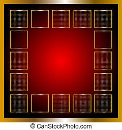 vector, rood, en, goud, frame
