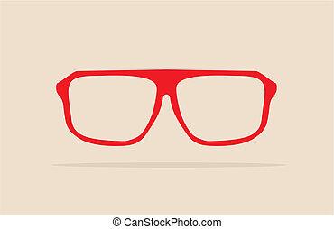 vector, rood, nerd, bril