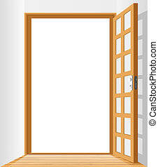 Vector room with opened door